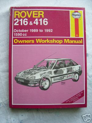 Rover 216 & 416 1989-1992  WorkShop Manual